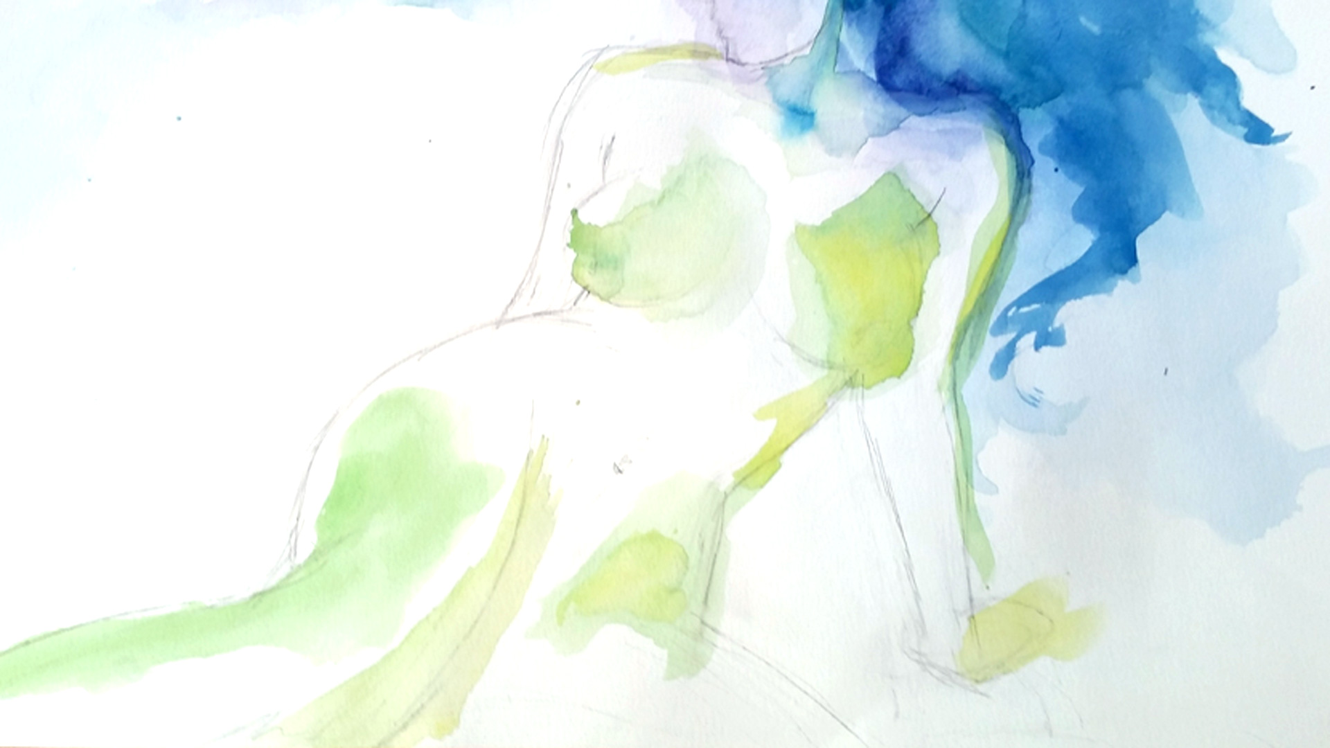 female figure watercolor study