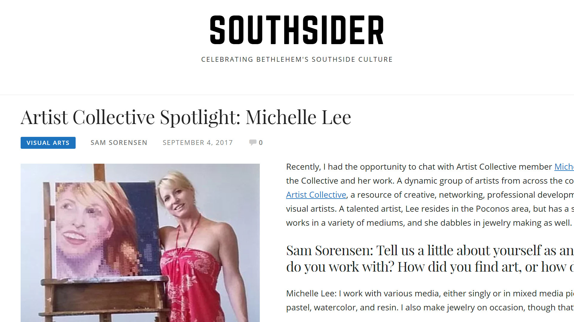 Southsider Article about Artist Collective membership